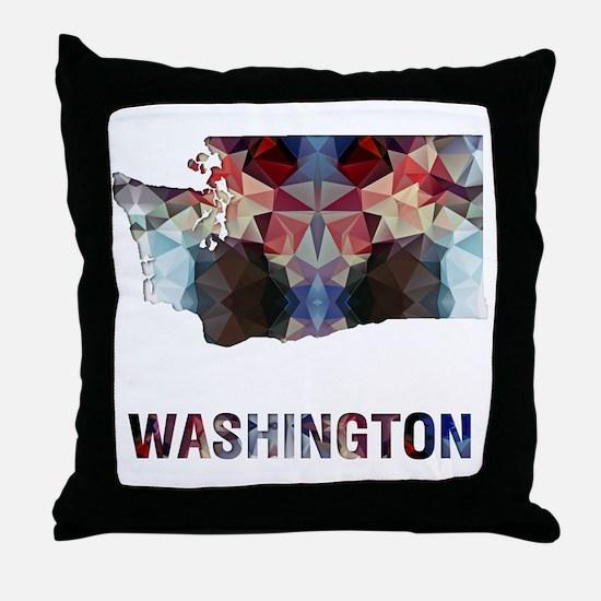 Mosaic Map WASHINGTON Throw Pillow