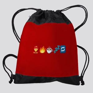Emoji Fire Coffee Sleep Drawstring Bag
