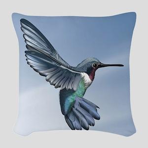 Blue Ruby Hummingbird Woven Throw Pillow
