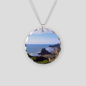 Piha Surf Beach NZ Necklace Circle Charm