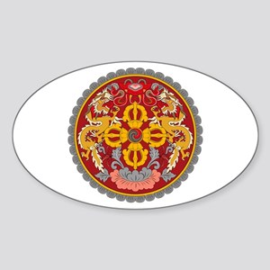 Bhutan Coat of Arms Oval Sticker