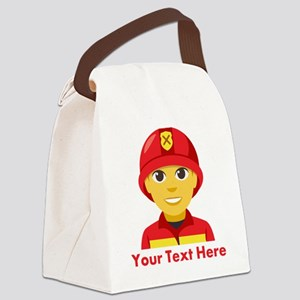 Emoji Personalized Firefighter Canvas Lunch Bag