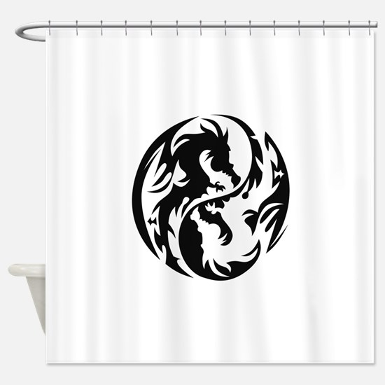 Tribal Dragons Shower Curtain