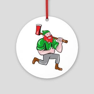 Paul Bunyan LumberJack Axe Kneeling Cartoon Round