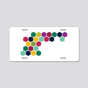 Colorful Honeycombs Aluminum License Plate