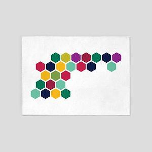 Colorful Honeycombs 5'x7'Area Rug
