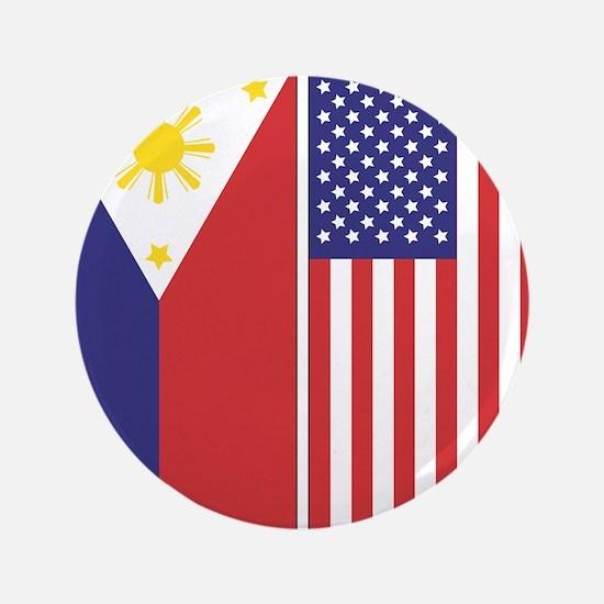 "Philippine Flag & US Flag 3.5"" Button"