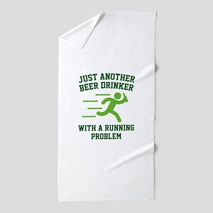 Beer Drinker Running Problem Beach Towel