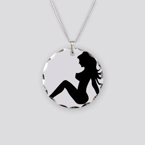 Trucker Girl Necklace Circle Charm