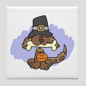 Thanksgiving Puppy Tile Coaster