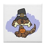 Thanksgiving Puppy Tile Coaster