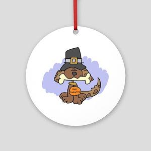 Thanksgiving Puppy Ornament (Round)
