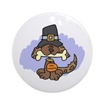 Thanksgiving Puppy Ornament (Round)