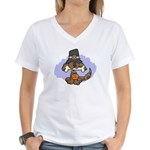 Thanksgiving Puppy Women's V-Neck T-Shirt