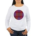 Purple Plaid Fractal Women's Long Sleeve T-Shirt