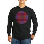 Purple Plaid Fractal Long Sleeve Dark T-Shirt