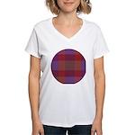 Purple Plaid Fractal Women's V-Neck T-Shirt