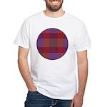 Purple Plaid Fractal White T-Shirt