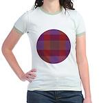 Purple Plaid Fractal Jr. Ringer T-Shirt