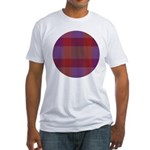 Purple Plaid Fractal Fitted T-Shirt