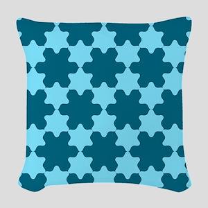 Stars Pattern Blue / Light Blu Woven Throw Pillow