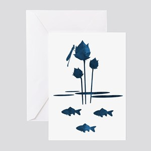 Pond Silhouette Greeting Cards