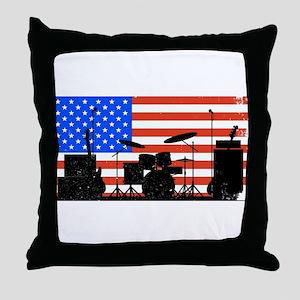 USA Rock Band Throw Pillow