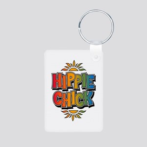 Hippie Chick Retro Rainbow Keychains (rectangle)