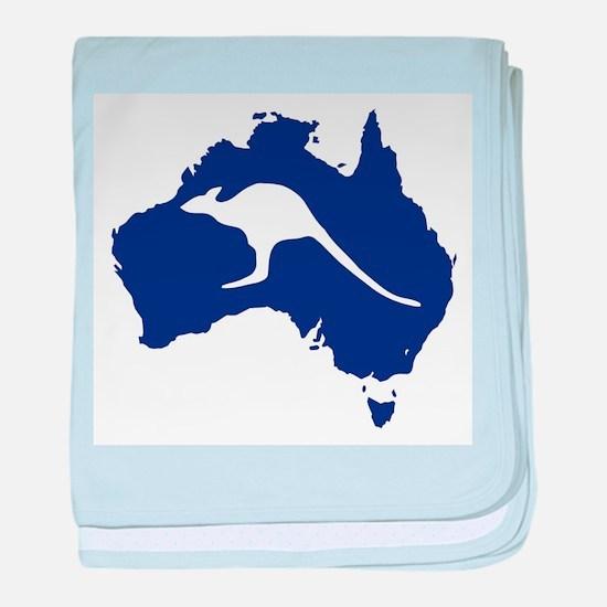 Australia Map With Kangaroo Silhouett baby blanket