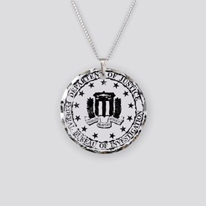 FBI Rubber Stamp Necklace Circle Charm