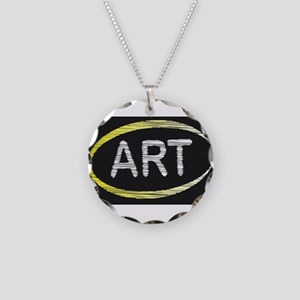 Art Blackboard Necklace Circle Charm