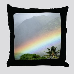 Manoa Valley Rainbow Hawaii Throw Pillow