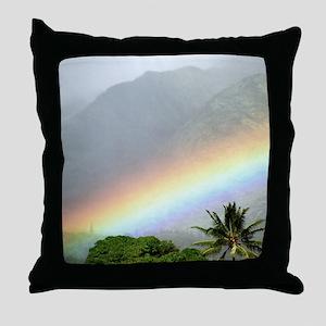 Manoa Valley Rainbow Hawaii Throw Pillow