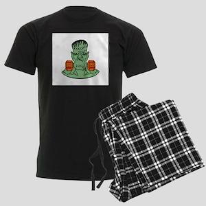 Frankenstein in dumbbells Men's Dark Pajamas
