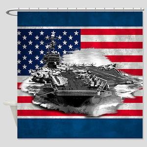 Naval Aircraft Carrier Patriotic US Flag Shower Cu