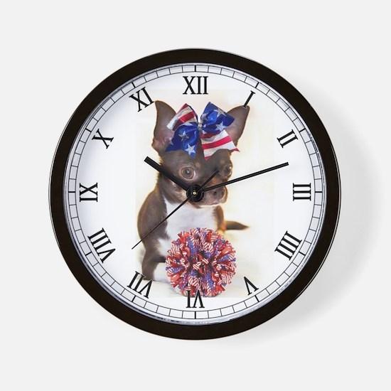 Cheerleader Chihuahua Wall Clock