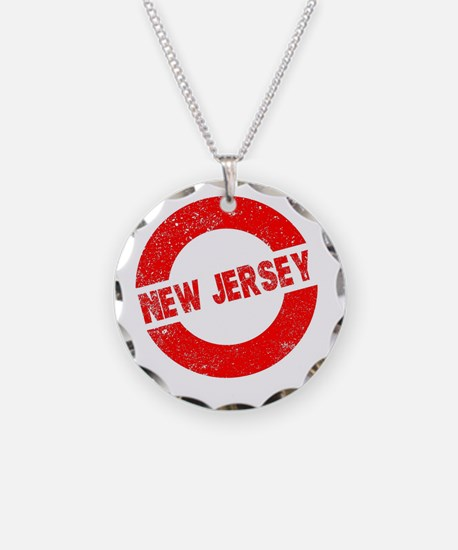 Rubber Ink Stamp New Jersey Necklace