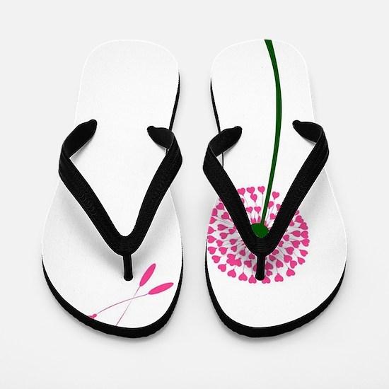 Dandelion Heart Seed Lovers Flip Flops
