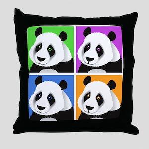Panda Bear Squares Throw Pillow