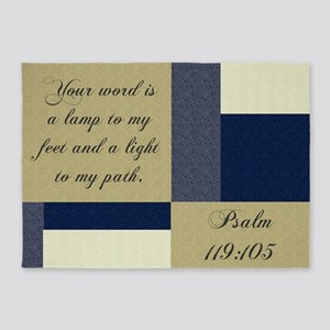 Bible Psalm Quote 5'x7'Area Rug