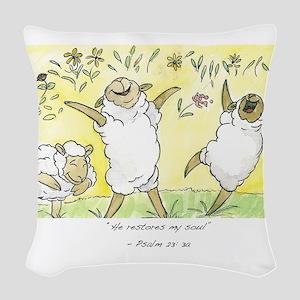 psalm 23: 3a Woven Throw Pillow