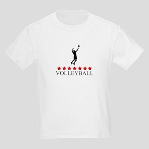 Mens Volleyball (red stars) Kids Light T-Shirt