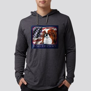 Red Japanese Chin USA Flag Long Sleeve T-Shirt