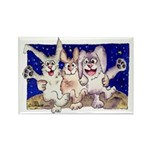 Full Moon Rabbits Rectangle Magnet (10 pack)