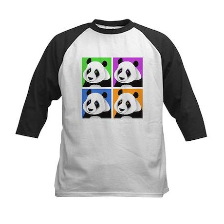 Panda Bear Squares Kids Baseball Jersey