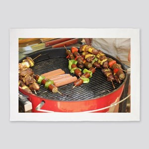 barbeque grill with with hot dogs a 5'x7'Area Rug