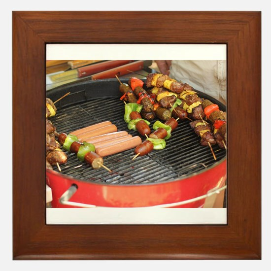 barbeque grill with with hot dogs and Framed Tile