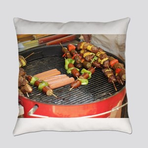barbeque grill with with hot dogs Everyday Pillow