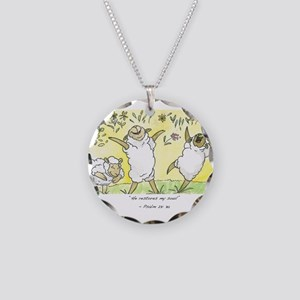 psalm 23: 3a Necklace Circle Charm