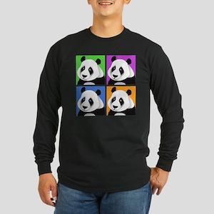 Panda Bear Squares Long Sleeve Dark T-Shirt